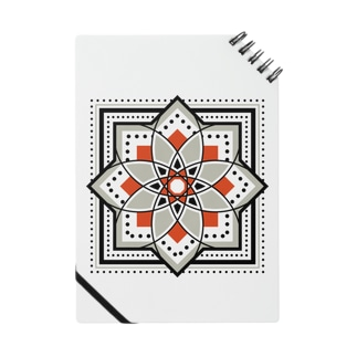 モロッカンに憧れるタイル柄・ブラック×オレンジ Notes