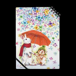 ボールペン画と可愛い動物の雨紫陽花 Notes