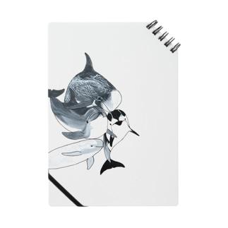 水族館でおなじみのイルカたち詰め合わせnotebook Notes
