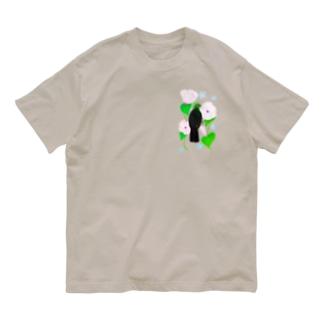 Lily bird(リリーバード)の見返り美鳥(ギニアエボシドリ)と花② Organic Cotton T-shirts