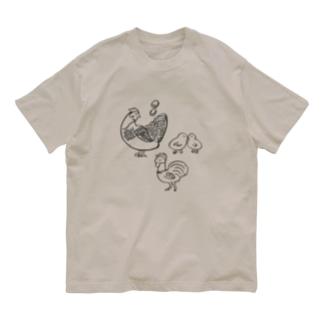 ニワトリ家族 Organic Cotton T-shirts
