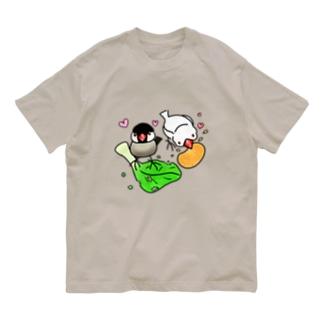 もぐもぐ文鳥ず① Organic Cotton T-shirts