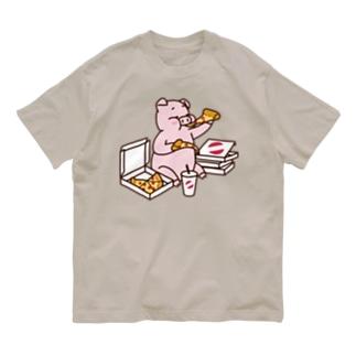ピザを食べるブタ(カラー) Organic Cotton T-shirts