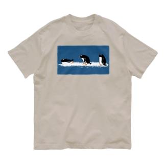 ジェンツーペンギンのおさんぽ Organic Cotton T-shirts
