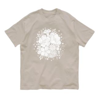 ぬりえフラワー Organic Cotton T-shirts