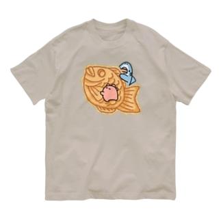 たい焼き食べたいサメとメンダコ Organic Cotton T-Shirt