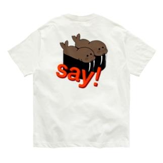 セイウチの軍艦巻き(バックプリント) Organic Cotton T-shirts