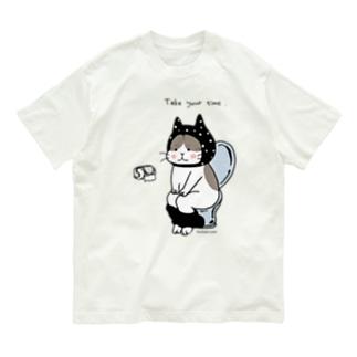 ほっかむねこ屋(アトリエほっかむ)のトイレねこ 黒 Organic Cotton T-shirts