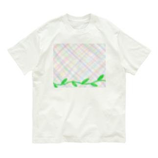 ほんわか優しいクロス模様Ⅱと葉っぱ Organic Cotton T-Shirt