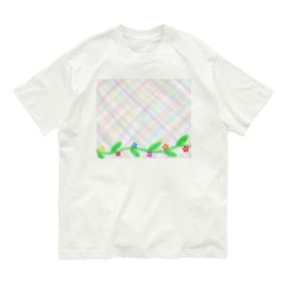 ほんわか優しいクロス模様Ⅱ 葉っぱと花 Organic Cotton T-Shirt
