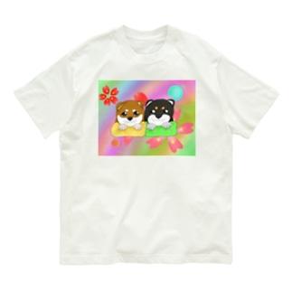 柴犬ベビーず 和柄背景② Organic Cotton T-shirts