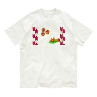 矢がすりフレーム ホオズキ Organic Cotton T-shirts