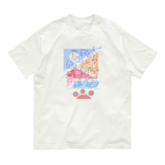 紙ペラにゃんこ(たくさん/色2) Organic Cotton T-shirts