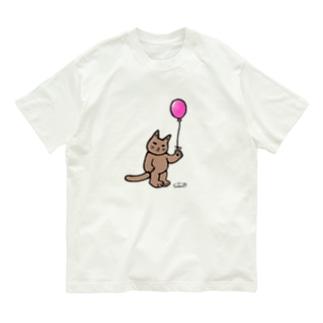 猫と風船(カラー) Organic Cotton T-Shirt