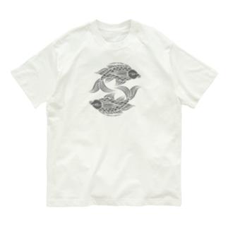 壷屋焼風双魚文 Organic Cotton T-shirts
