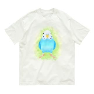 ほんわかセキセイインコ ブルー【まめるりはことり】 Organic Cotton T-shirts