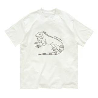 グリーンイグアナ (線画) Organic Cotton T-shirts