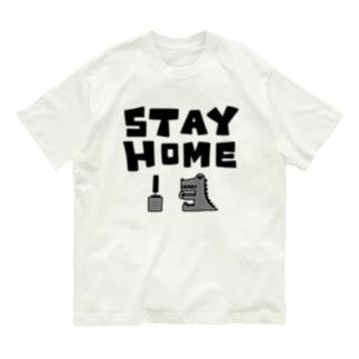 ステイホーム(ゲームをしてるワニ) Organic Cotton T-shirts
