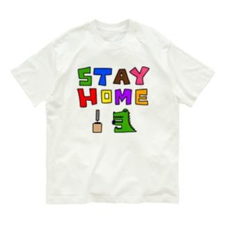 ステイホーム(ゲームをしてるワニ)カラー Organic Cotton T-shirts