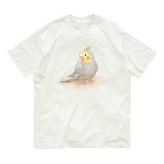 オカメインコ シナモン【まめるりはことり】 Organic Cotton T-shirts
