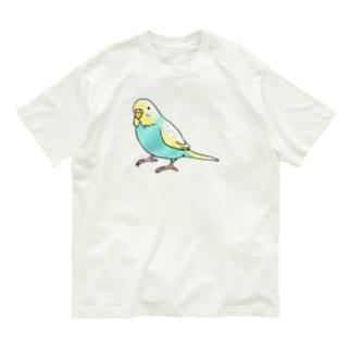 ごきげんセキセイインコ【まめるりはことり】 Organic Cotton T-shirts