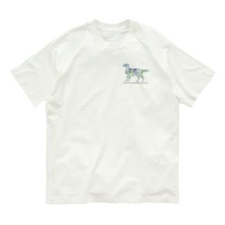 花 ボタニカル フラットコーテッドレトリバー Organic Cotton T-shirts