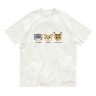 野生のにゃん3匹 Organic Cotton T-shirts