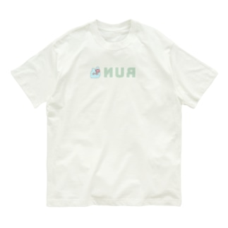 裏RUN!うさぎねこライトブルー Organic Cotton T-shirts
