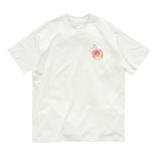 桃とうさぎさん(ホワイト) Organic Cotton T-shirts