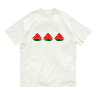ドッド絵 スイカ3連 Organic Cotton T-shirts