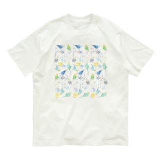 たくさんセキセイインコちゃん【まめるりはことり】 Organic Cotton T-shirts