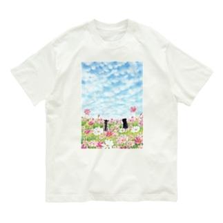 コスモス畑のトロとクロ Organic Cotton T-Shirt