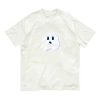 白にとけこむカクカクしたおばけ Organic Cotton T-shirts