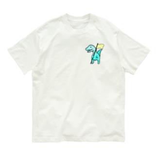 勝利の黄色いフラッグ恐竜 Organic Cotton T-shirts