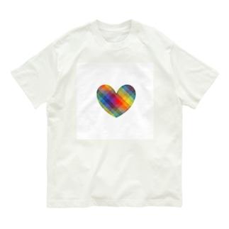 虹×ハート×虹(ホワイト) Organic Cotton T-Shirt