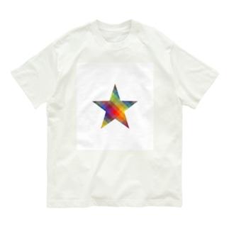虹×スター×虹(ホワイト) Organic Cotton T-Shirt