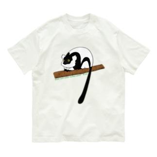 クロシロエリマキキツネザル Organic Cotton T-shirts