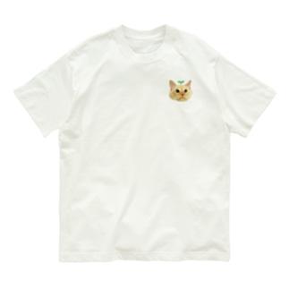 左胸にワンポイント🐶双子葉類ちゃん🐱🌱 Organic Cotton T-shirts