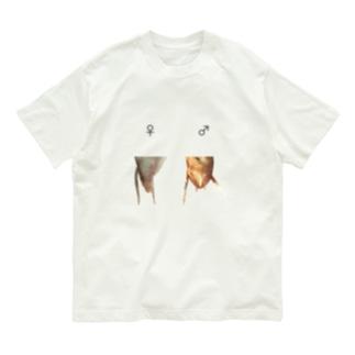 カマキリの雌雄(背景透過ver) Organic Cotton T-shirts