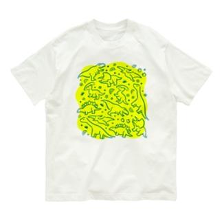 DINOSAUR グリーン×イエロー Organic Cotton T-shirts