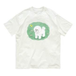 ビションフリーゼとチョウチョ Organic Cotton T-shirts