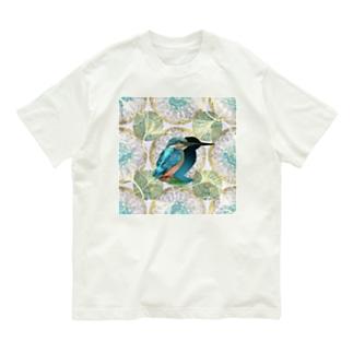 アール・ヌーヴォー風装飾と美しいカワセミのイラスト Organic Cotton T-shirts