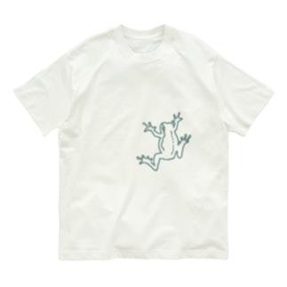 isay-t(文鳥/雀/sparrow/野鳥/カエル/frog/蛙/爬虫類/カメ/キンカチョウなど)のハウカエル薄緑 Organic Cotton T-shirts