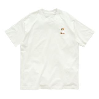 三毛猫ニャン(ワン)ポイントコットンTシャツ【Poka poka...】 Organic Cotton T-shirts
