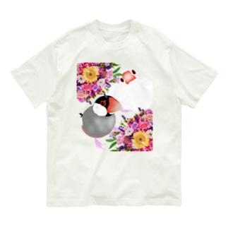 文鳥さんと花束 Organic Cotton T-shirts