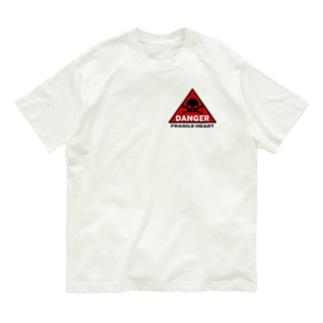 PB.DesignsのFRAGILE HEART -red- Organic Cotton T-shirts
