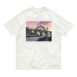 蒸気機関車と遊園地(ピンクパープル) Organic Cotton T-Shirt