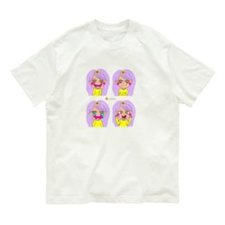ハートちゃんのハッピーフェイス♡ロゴ入りバージョン Organic Cotton T-shirts