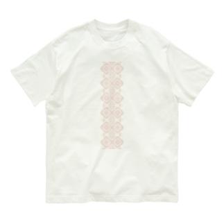 ピンク大島紬龍郷柄風 Organic Cotton T-shirts