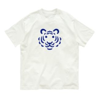 トラ(青) Organic Cotton T-shirts